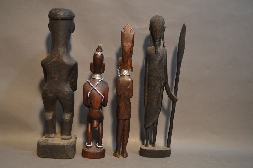 10 WOOD CARVED AFRICAN SCULPTURES AND FIGURES - 3