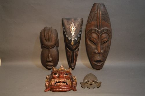 5 AFRICAN AND ASIAN MASKS