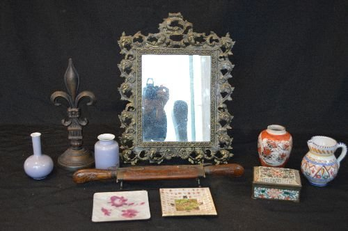"DECORATIVE ITEMS INCLUDING 17"" EASEL BACK MIRROR ETC"