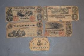 5 PIECES CIVIL WAR CONFEDERATE MONEY; $10 CONFEDERATE