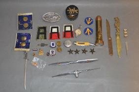 ANTIQUE LETTER OPENERS, FLASHLIGHT, MILITARY BUTTONS,