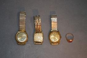 3 GOLD FILLED ANTIQUE WRIST WATCHES AND 10K GOLD SIGNET