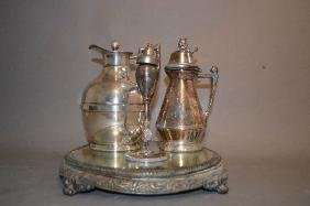ANTIQUE SILVER-PLATE MIRRORED TRAY, FIGURAL BED VASE,