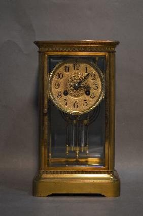 MEDAILLE D'ARGENT CRYSTAL REGULATOR ANTIQUE CLOCK WITH