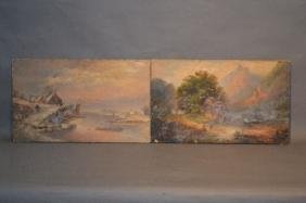 PAIR OF 19TH CENTURY OIL ON CANVAS LANDSCAPE PAINTINGS