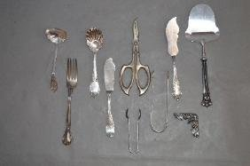 10 PIECES STERLING SILVER AND STERLING HANDLED FLATWARE