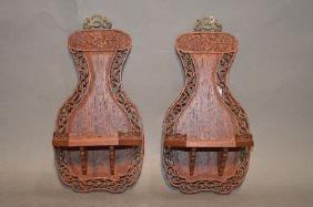 """PAIR OF 10"""" ANTIQUE CHINESE CARVED WALL SHELVES"""