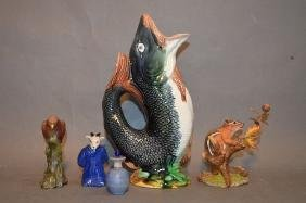 MAJOLICA FISH PITCHER, LENNOX SQUIRRIL AND 2 CHINESE