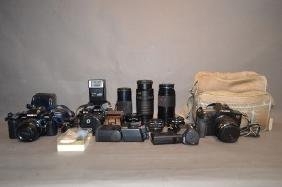 LARGE GROUPING OF CAMERAS AND CAMERA EQUIPMENT; RICOH
