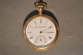 19TH CENTURY ELGIN GOLD FILLED MENS POCKET WATCH WITH