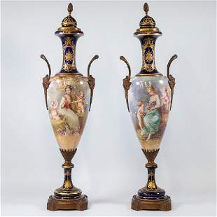 A pair of Sèvres vases with lid, cobalt blue with a