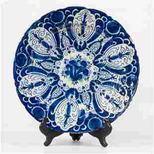 A large display plate, The Greek A, Delfts faience,
