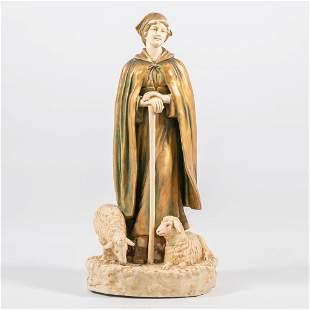An art deco statue in Faience, made by Bernard Block