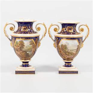 A pair of English porcelain vases, with hand-painted