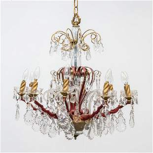 A Venetian metal and crystal chandelier with 10 points