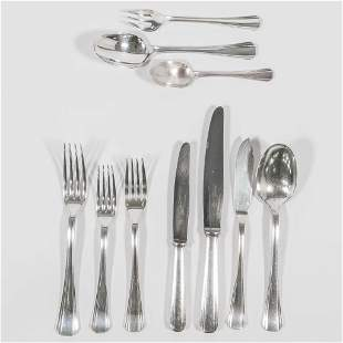 A silver-plated Christofle cuttelry set, made between