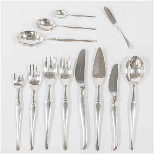 A silver plated cutlery set of 123 parts and marked