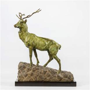 No signature found, a bronze deer with green patina,