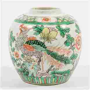 A Chinese porcelain ginger jar with peacock decor.