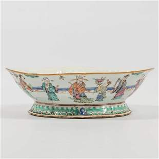 A Chinese porcelain jardinière, painted with immortal