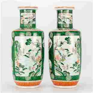 a pair of Chinese famille verte display vases with