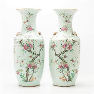 A pair of Chinese vases with decor of birds, branches,