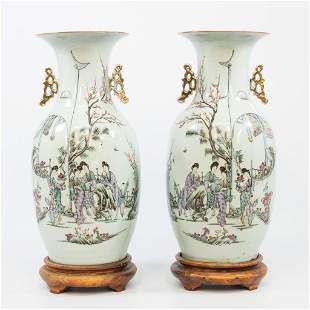 A pair of Chinese vases with decor of ladies and