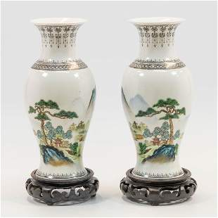 A pair of Chinese vases with hand-painted decor of