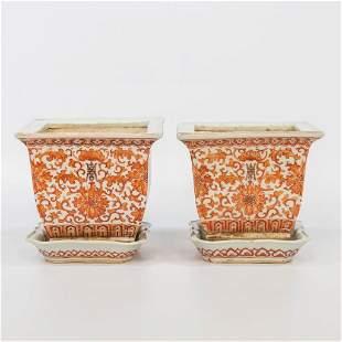 A pair of Chinese porcelain Cache-pots marked Qianlong.