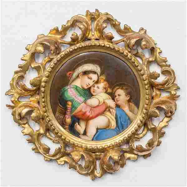 An antique painting, Madonna Della Seggiola, after