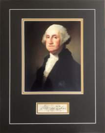 George Washington Framed Autograph & Portrait