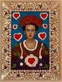 Frida Kahlo oil on canvas painting Framed & Hand carved
