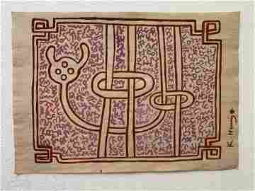 Keith haring mixed media drawing signed & stamped
