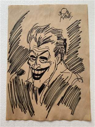 Bob Kane Ink Drawing on paper, Signed and Sealed