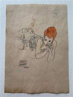 Egon Schiele Drawing on paper signed- in the style of