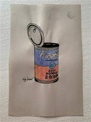 Andy Warhol mixed media drawing, sealed-in the style of