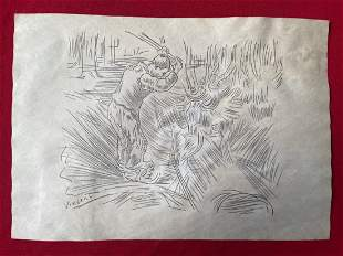 Vincent Van Gogh Drawing on paper,signed-in the style