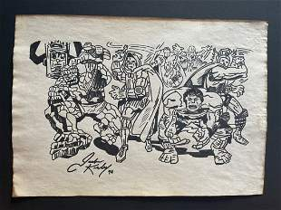Jack Kirby mixed media drawing, signed-in the style of