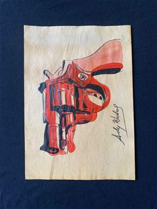 Andy Warhol mixed media drawing, signed-in the style of