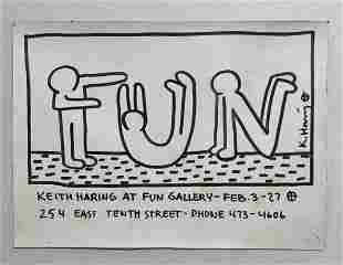 Keith haring mixed media postcard -in the style of
