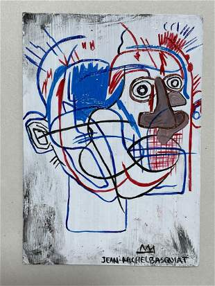 Jean M. Basquiat mixed media postcard -in the style of