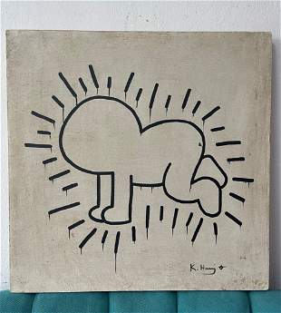 Keith Haring signed and sealed painting-in the style of