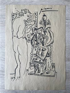 Pablo Picasso Drawing on paper sealed -in the style of