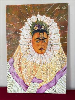 Frida Kahlo oil on canvas signed,sealed-in the style of