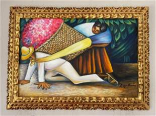 Diego Rivera oil painting signed -in the style of
