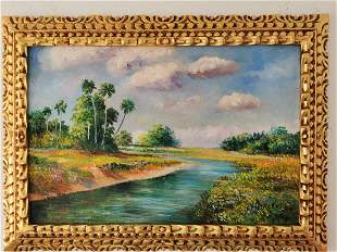 A. E. Backus oil on canvas, signed -in the style of