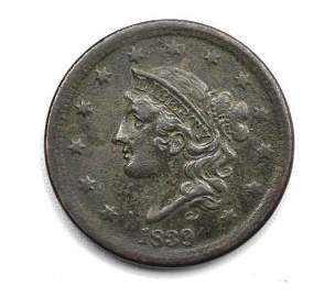 1839 Coronet Liberty Head Large Cent - Silly Head