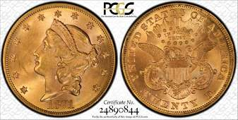 1871 $20 Gold PCGS 63+ CAC