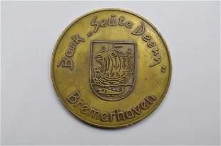 German Brass Token: BREMERHAVEN 'BARK SEUTE DEERN'