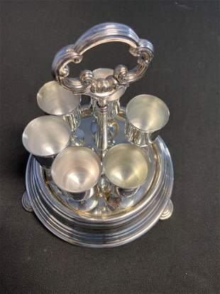 Victorian Egg Cup Holder and 6 Egg Cups